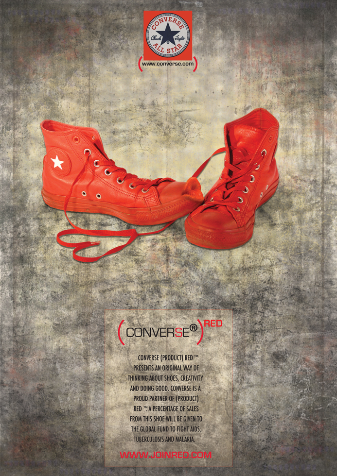 Advertisement poster for Converse All Star shoes and their relationship with Red