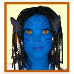 Photo-manipulation of a girl's face into an Avatar Character