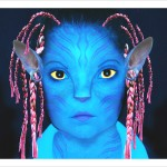 Photo manipulation of a girl's face into an Avatar